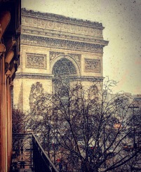 A view of the Arc de Triomphe during an early Spring snow dusting