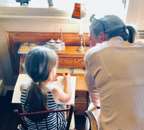 Sitting with my goddaughter to help her with one of her summer projects (write 3 sentences a day about your vacation) to help her with her spelling and writing. I was impressed at all the different ways she tried to get me to do the work for her....and how I almost did!